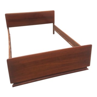 Vintage Mid-Century Carl Bissman Walnut Full Size Bedframe For Sale