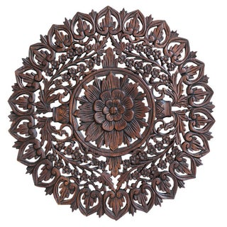 Burmese Hand-Carved Teak Panel For Sale