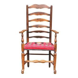 English Ladderback Suzani Arm Chair For Sale