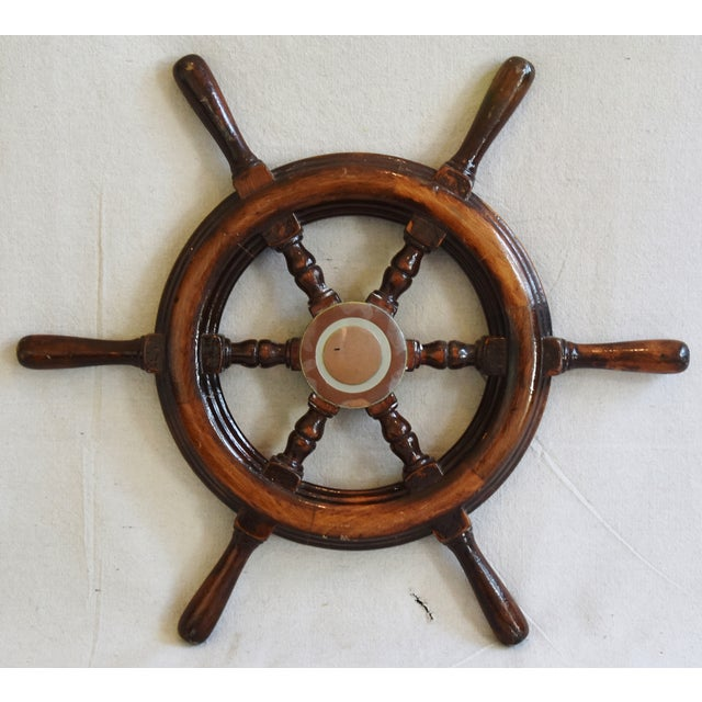 1950s Nautical Wood & Brass Ship's Wheel - Image 2 of 9