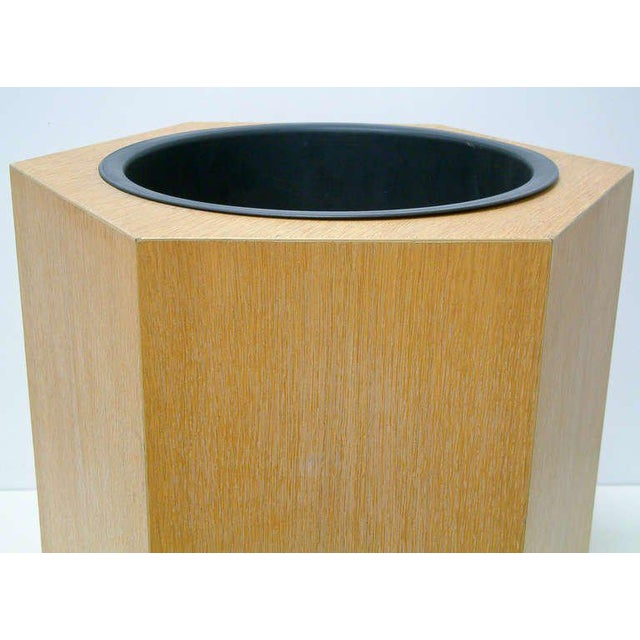 Circa 1970s Paul Mayen Hexagonal Oak and Aluminum Planter - Image 4 of 7