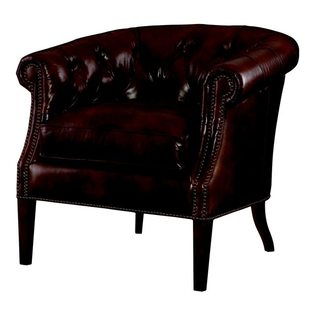 Century Furniture Macbee Pub Chair, Bruin Leather For Sale