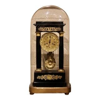 19th Century French Empire Portico Mantel Clock in Original Glass Dome For Sale