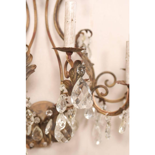 Pair of Mid-Century Seven-Light Crystal and Iron Sconces With Leaf Crest Tops For Sale - Image 9 of 11