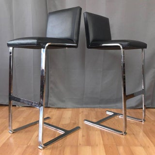 Pair of Vintage Gordon International 503 MV Chrome and Leather Barstools Preview