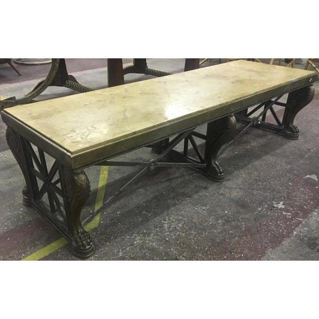 MAISON JANSEN spectacular 1940s long neoclassic coffee table in patinated cast iron.