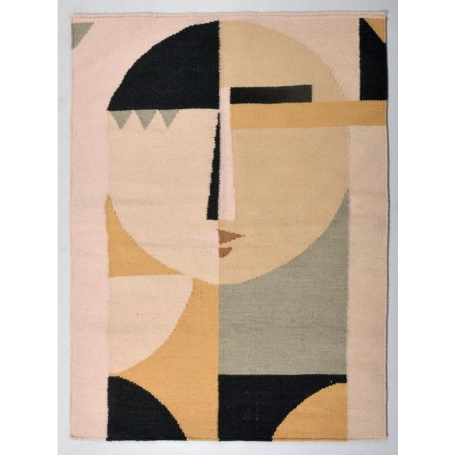 2010s Custom Flat Weave Abstract Female Figure Rug - 3′ × 3′10″ For Sale - Image 5 of 7