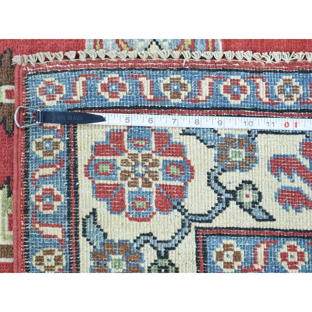 Hand-Knotted Pure Wool Geometric Design Red Kazak Rug- 5′ × 6′3″ For Sale - Image 10 of 12