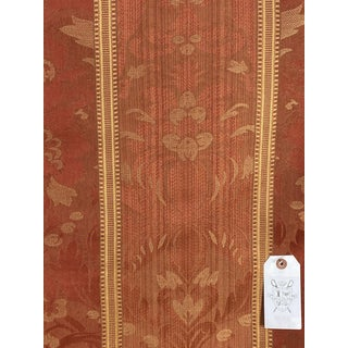 Italian Moired Cotton Striped Damask Fabric - 3 1/2 Yards For Sale