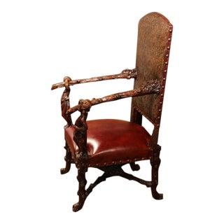 18th Century Italian Carved Walnut Blackamoor Armchair For Sale