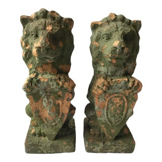 1880s French Terracotta Lions Holding Shields For Sale