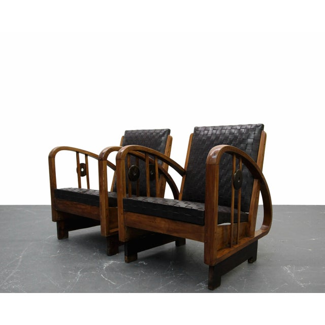 Frank Lloyd Wright Pair of Antique French Art Deco Bentwood Lounge Chairs with Woven Leather For Sale - Image 4 of 8