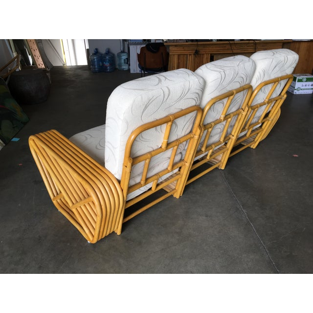 1930s Restored Six-Strand Rattan Sofa and Lounge Chair Set - 2 Pc. For Sale - Image 5 of 11