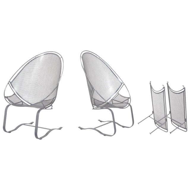 John Salterini High Back Patio Lounge Chairs With Footrests - a Pair For Sale