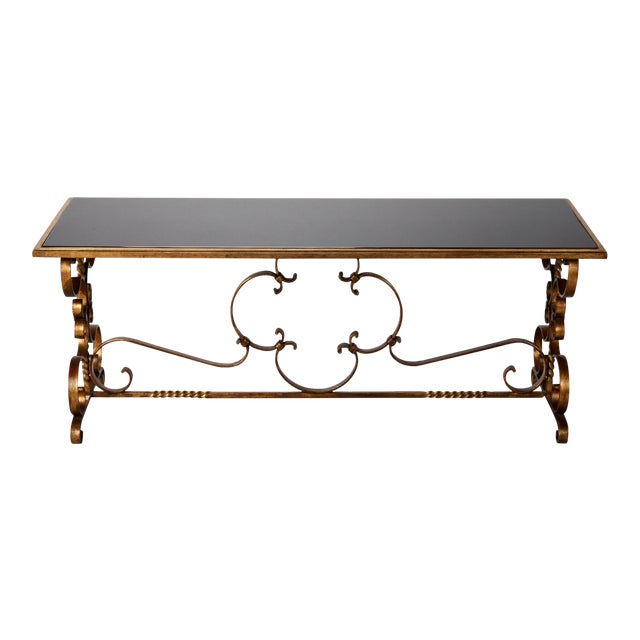 Italian Gilt Iron & Black Glass Cocktail or Coffee Table For Sale