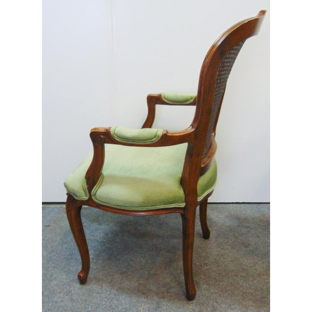 Wood Drexel Louis XV Style Carved Fruitwood Caned Arm Chairs - a Pair For Sale - Image 7 of 8