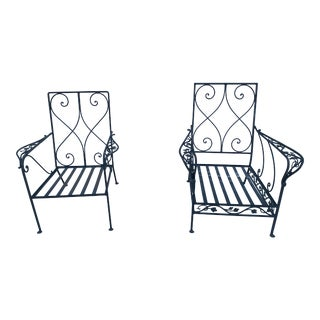 Grape Wrought Iron Patio Lounge Arm Chairs - a Pair For Sale