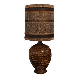 Mid-Century Drip Glaze Lamp Maria Kipp Style Shade For Sale