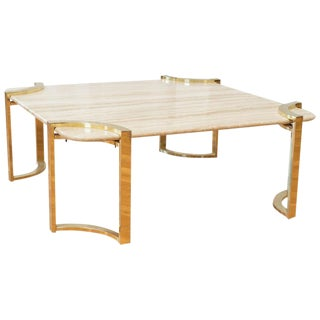 Italian Travertine and Brass Coffee Table For Sale