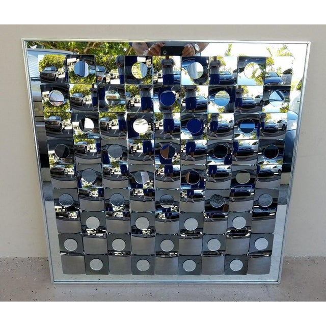 Iconic Hal Bienenfeld Op Art Pop Art Mirror Circle Within Square with no damage to mirror or frame.