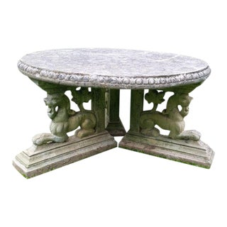 Vintage Cement Patio Gargoyle Base Coffee Table
