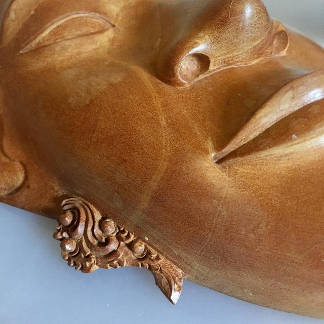 Brown Pair of Vietnamese Carved Wood Masks For Sale - Image 8 of 9