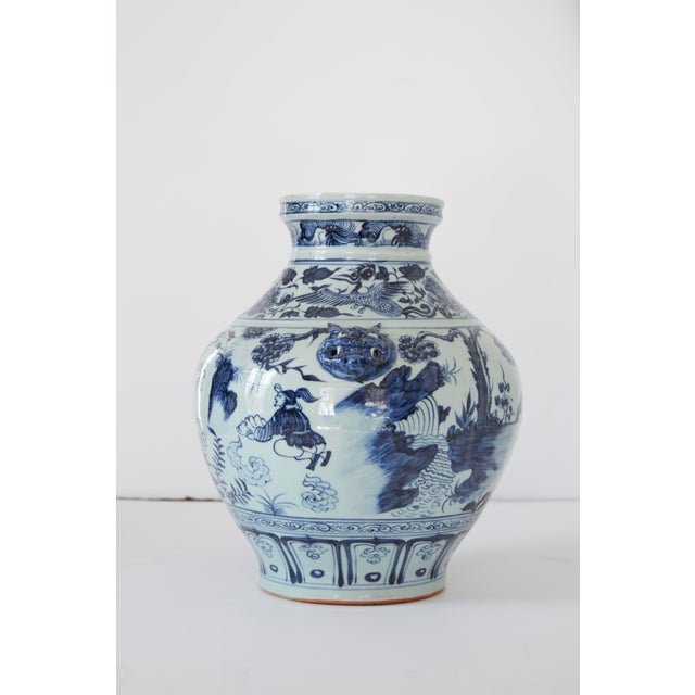 Vintage Mid-Century Ming Style Chinese Blue and White Vase For Sale - Image 4 of 7