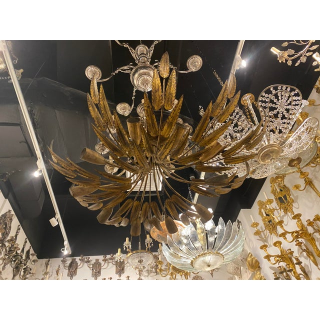 1930s Gilt Metal 10 Light Fixture For Sale - Image 10 of 10