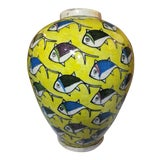 Image of 1960s Contemporary Persian Large Yellow Ceramic Fish Vase For Sale