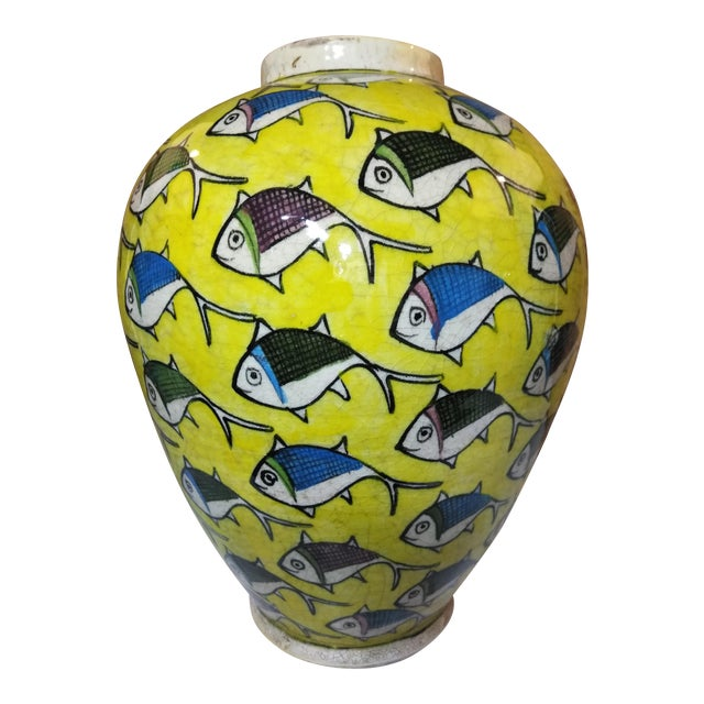 1960s Contemporary Persian Large Yellow Ceramic Fish Vase For Sale