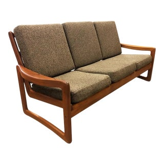 Solid Teak Vintage Sun Cabinet Danish Modern Sofa Couch For Sale