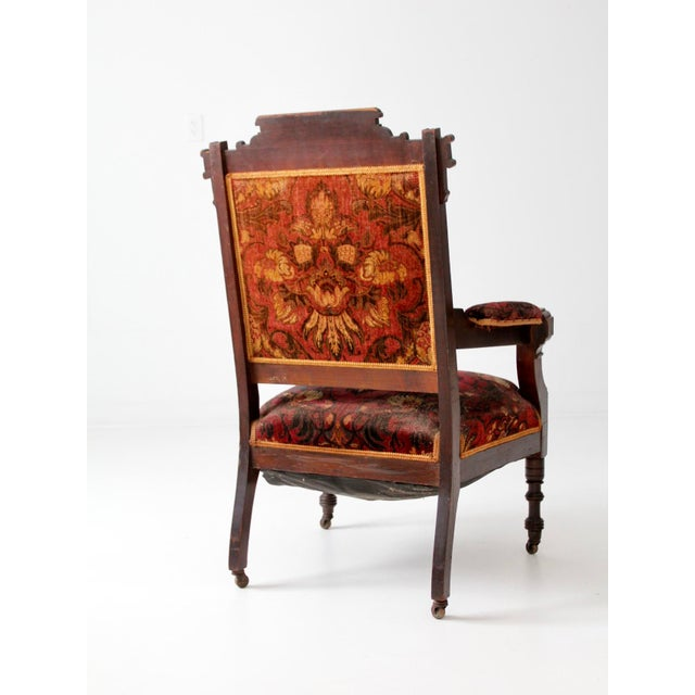 Antique Upholstered Arm Chair For Sale - Image 9 of 11