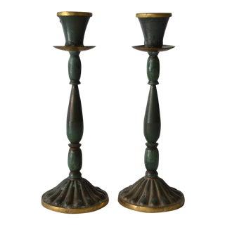 Vintage Jade & Brass Candlesticks - A Pair