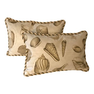 """""""Sea Shells"""" Scalamander Down Filled Pillows - a Pair For Sale"""