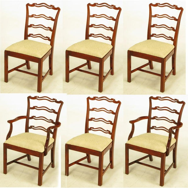Six Ribbon Back Chippendale Dining Chairs - Image 2 of 10