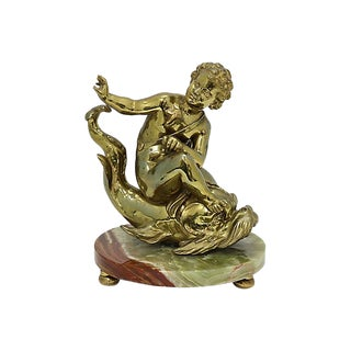 Antique French Bronze Cherub on Dolphin For Sale