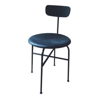 Bauhaus Afternoon Black Leather and Metal Dining Chair