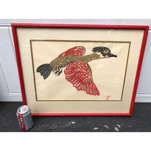 Asian Gold/ Red/ Black Bird Acrylic Painting in Red Bamboo Frame For Sale - Image 3 of 12