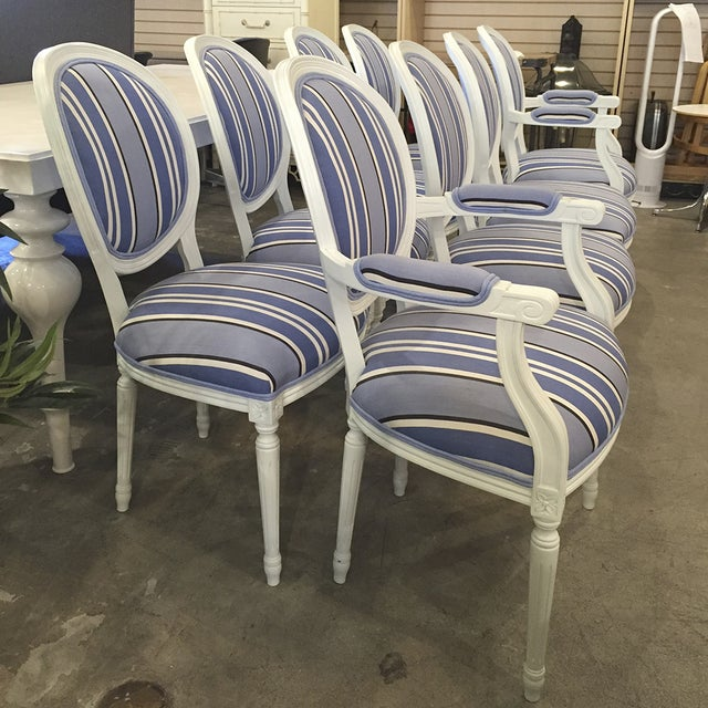 Blue & White Striped Cameo Chairs - Set of 8 - Image 5 of 10