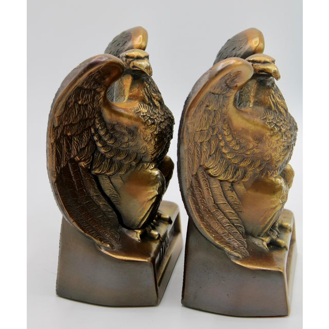 "Metal Vintage ""1776"" American Federal Eagle Bookends For Sale - Image 7 of 13"
