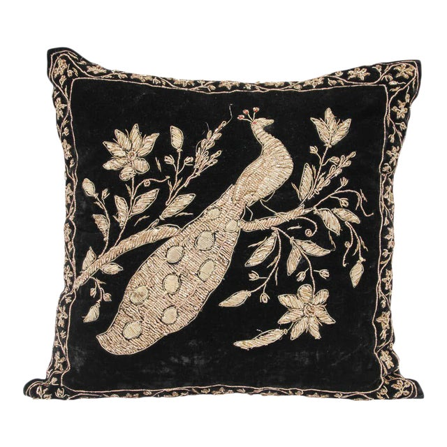 Black Velvet Throw Pillow Embroidered with Metallic Moorish Gold Threads For Sale