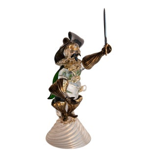 Circa 1950 Murano Italy Cavalier Art Glass Figure in the Style of Salviati For Sale
