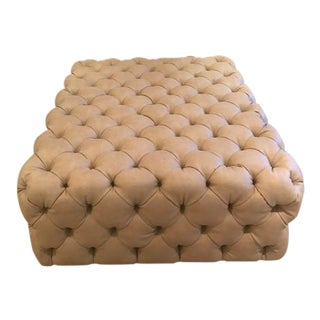 Custom Tufted Leather Coffee Table/ Ottoman