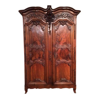 18th Century Country French Carved Walnut Armoire For Sale