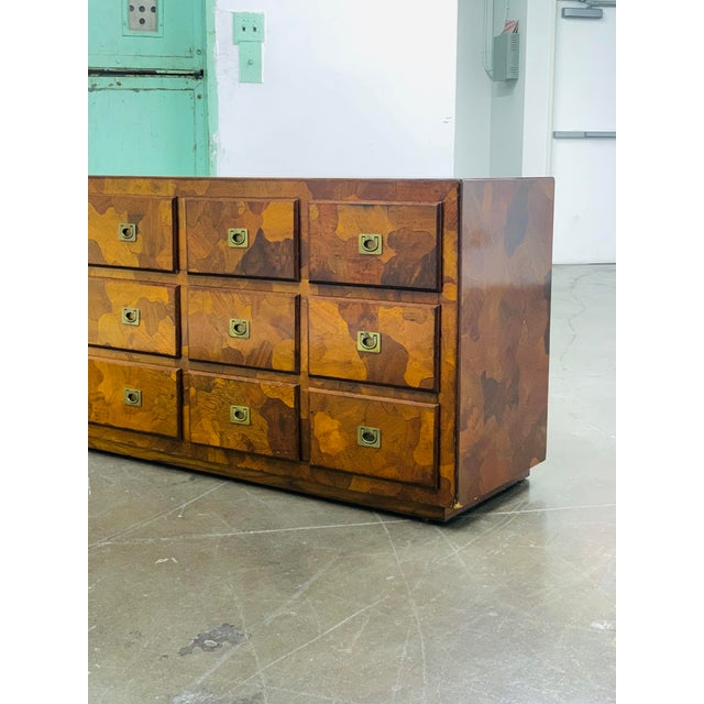 """Metal 1960s American of Martinsville """"Mosaics"""" Campaign Style Dresser For Sale - Image 7 of 10"""