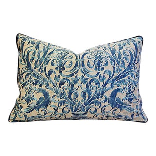 "Italian Mariano Fortuny Uccelli Feather/Down Pillow 26"" x 18"""