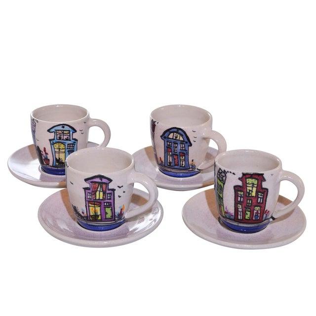 Ceramic Dutch Canal Home Design Handmade Espresso Cups With Saucers - Set of 4 For Sale - Image 7 of 7