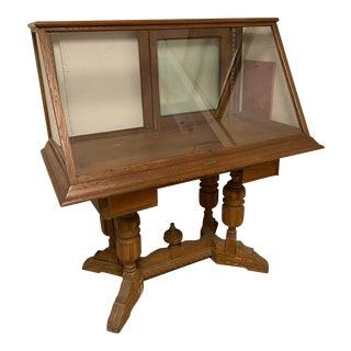 1910s Antique Jacobean Display Case On Pedestal Base For Sale