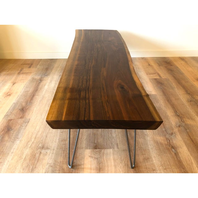 Brown Modern Raw Edge Slab Coffee Table With Hair Pin Legs For Sale - Image 8 of 11