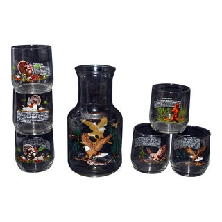 Sunoco Wildlife Decanter & Glasses - Set of 7